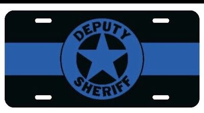 Thin Blue Line SHERIFF BADGE 5 Point License Plate POLICE CAR Tag METAL 6x12