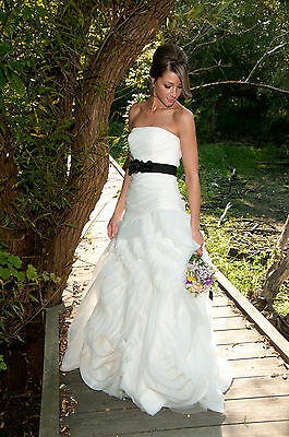 Vera White Collection Fit And Flare Organza Tulle Ivory Wedding Dress Sz 4 Ebay