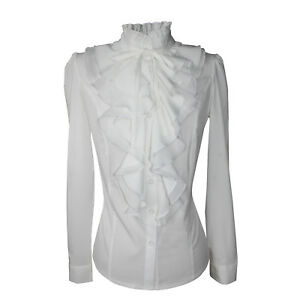 7238d1bb2a21f Shirts For Women Stand-Up Collar Vintage Lady Victoria Ruffle Blouse ...