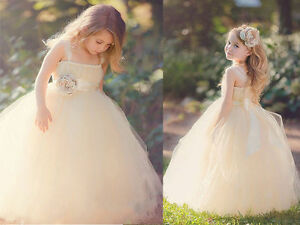 New Elegant Champagne Tulle Flower Girl Dress Bridesmaid Party Wedding Pageant