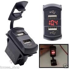 12V Dual Hafen USB Ladegerät Buchse Spannung Voltmeter Rocker Schalter Platte