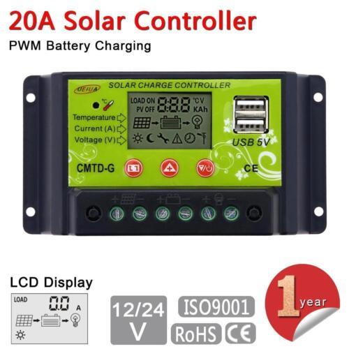 20A 12V//24V LCD Solar Energy Regulator Battery Charger Controller Dual USB 5V F@