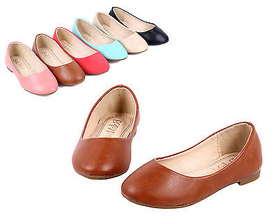 Cognac ## Simple Dressy Silp On Casual Kids Girls Flats Shoes Youth Size 3