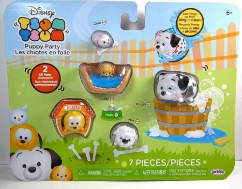 Disney Tsum Tsum 9 pack PUPPY PARTY Color Change Lucky Kennel Dog Bed NEW