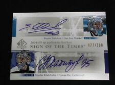 2004/05 SP Authentic Nabokov Khabibulin SOTT auto card 27/100 sign of the Times