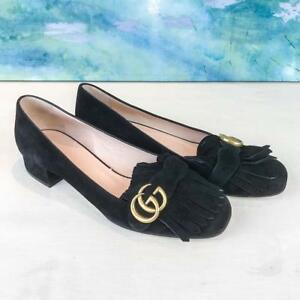 f81ca9f93 $790 GUCCI Marmont Kiltie Black Suede Fringe GG Logo Loafers Heels ...