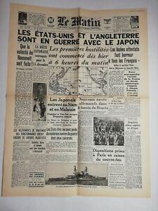 N797-La-Une-Du-Journal-Le-Matin-9-decembre-1941-Etats-Unis-l-039-Angleterre