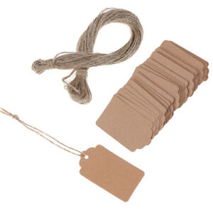 100Pcs-Blank-Kraft-Jewelry-Price-Label-String-Price-Tags-With-String-DD