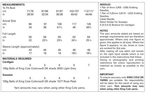 King Cole Ladies Double Knitting Pattern Raglan Sleeve Cardigan /& Sweater 5124
