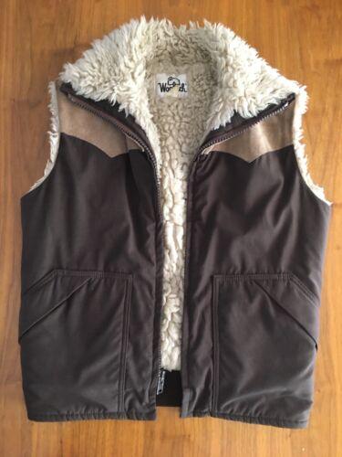 Vintage Woolrich Sherpa Vest Brown Leather Faux Fu