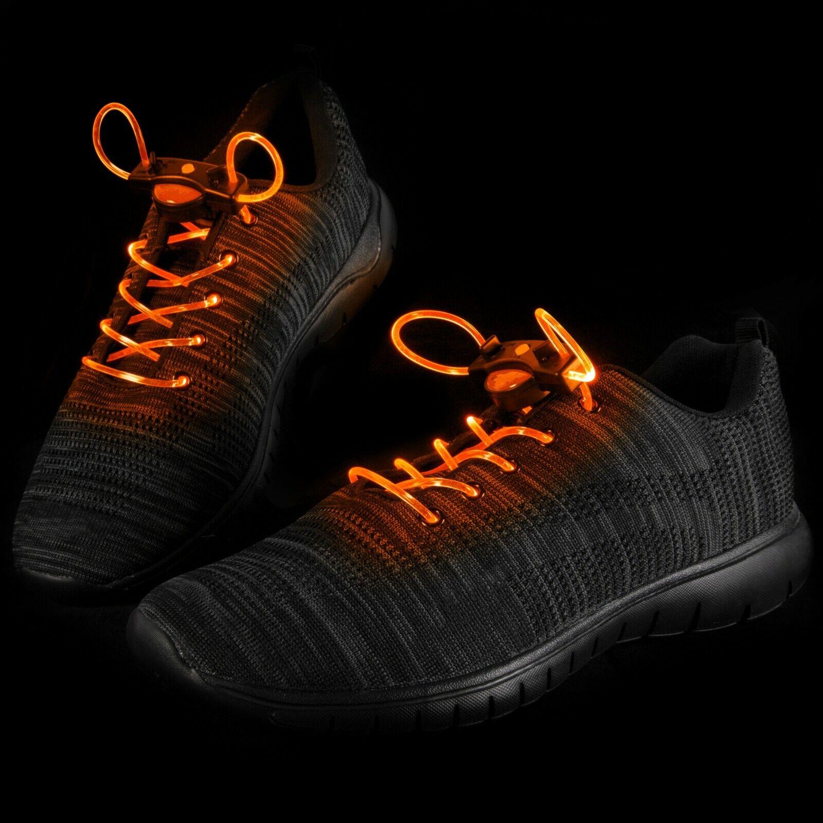 Dettagli su 1 25 Arancione LED Lacci Stringhe Luce Fino Fibra Luminoso Lampeggiante Scarpe