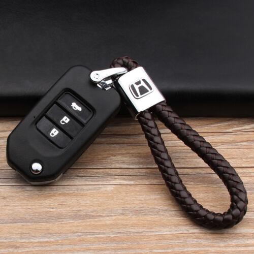 Car Logo Key Chain Fobs Leathe Weave Straps Keyring For BMW Honda Mazda Jeep
