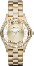 NEW MARC JACOBS MBM3338 GOLD LADIES HENRY SKELETON WATCH - 2 YEAR WARRANTY