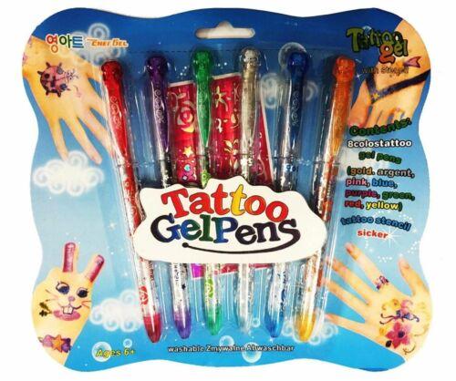 Glitter Pen Color Pink Blue Green Yellow Tatto Gel Pens,Tatto Pencil Sticker
