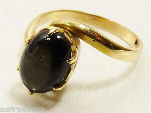 VTG-14k-gold-Oval-Black-Star-Sapphire-ring-sz-5
