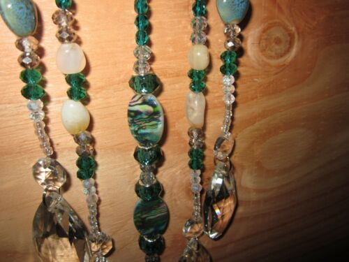 GORGEOUS Horseshoe Suncatcher W// 5 Strands of Crystal//Agate//Glass Glass Beads