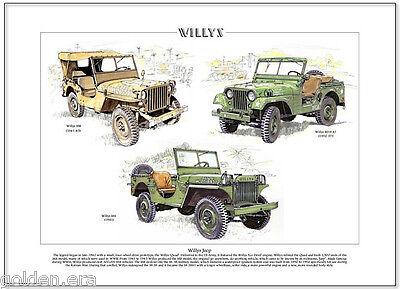 MB M38 A1 /& MA Vietnam Korea WW2 vehicle Fine Art Print  A3 size WILLYS JEEP