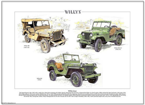 WILLYS JEEP - Fine Art Print  A3 size - MB M38 A1 & MA Vietnam Korea WW2 vehicle