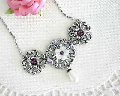Party Purple Amethyst Statement Pearl Silver Necklace Floral Women Jewelry Gift