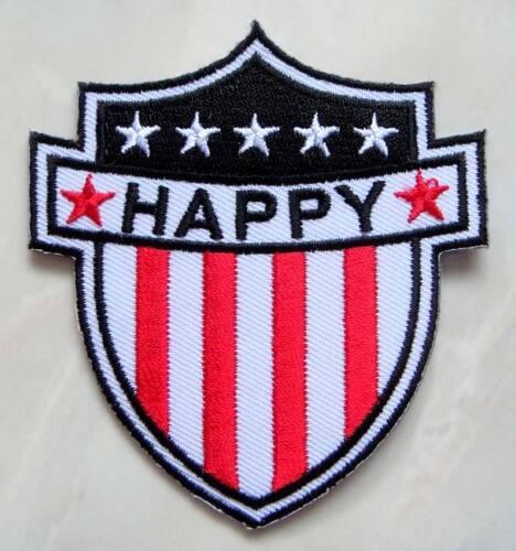 Cinq étoiles Happy Blanc Logo écusson brodé Iron On Patch livraison gratuite