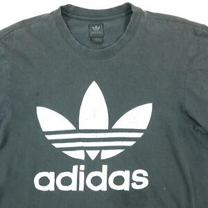 Adidas-Trefoil-T-Shirt-MEDIUM-Nicely-Faded-Black-Distressed-Skate-Punk-Grunge