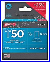 Genuine Arrow Staples T50 1/2 1,250 Box 508 Made In Usa Free Shipping