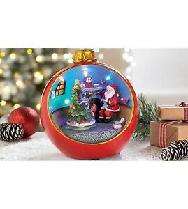 musical moving christmas decoration santa bauble led lights animated