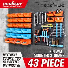 43Pc Parts Storage Bin Tool Holder Wall-Mounted Rack Organizer Garage Shelving