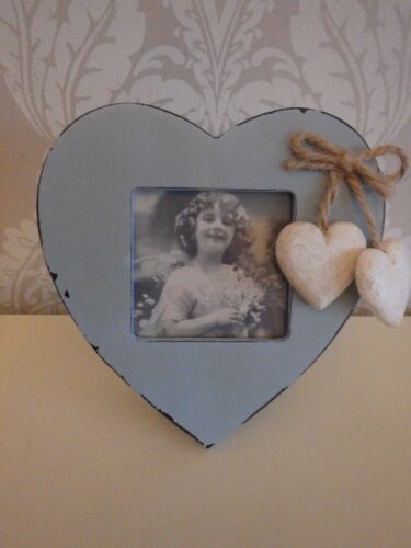 Rustique shabby chic duck egg bleu coeur amour cadres photo bleu photo cœur cadre
