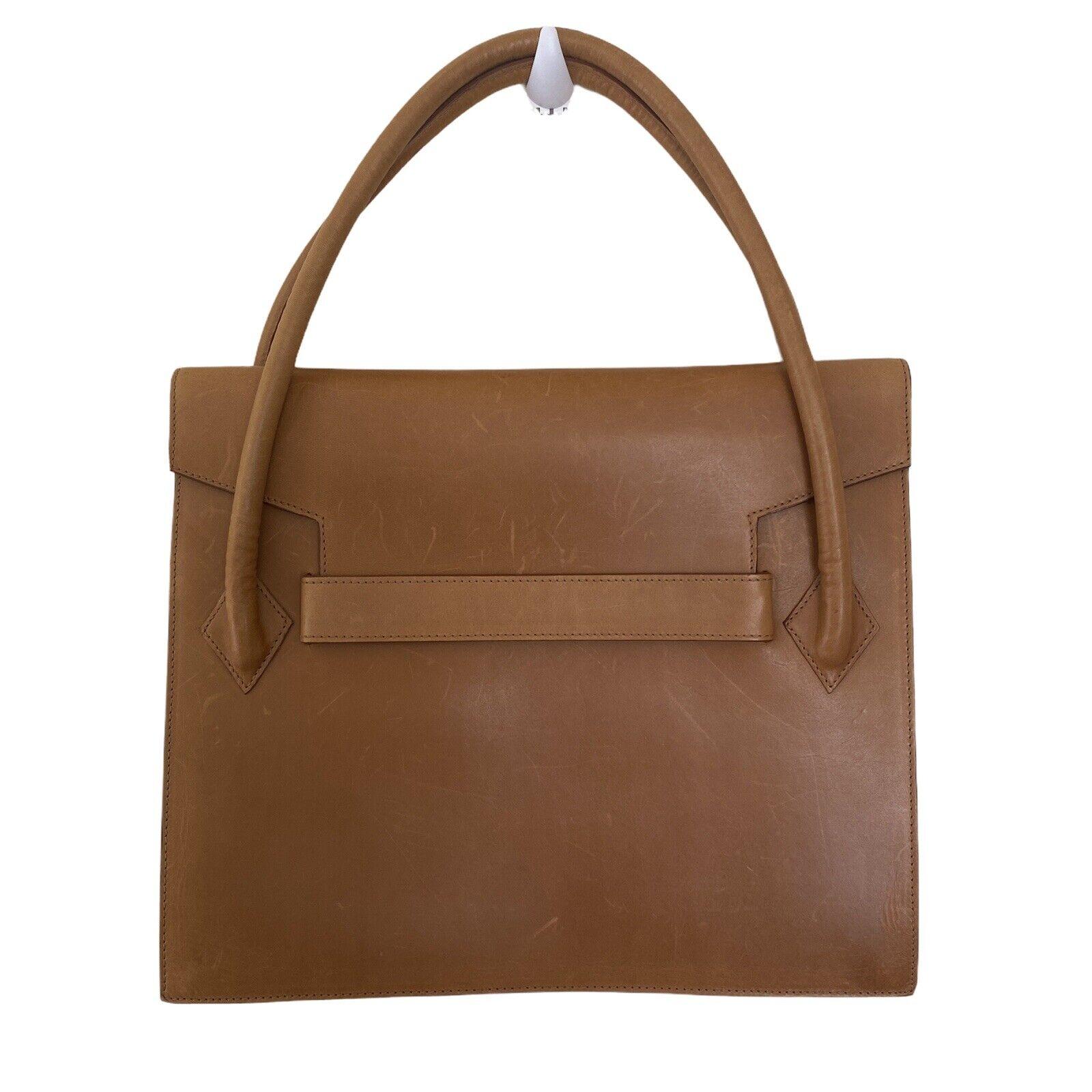 Laurèl Leather Handbag Satchel Brown Tan Square C… - image 1