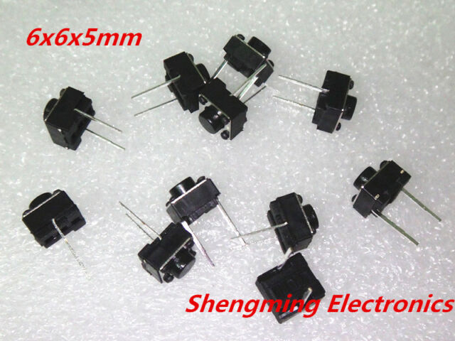 100pcs 2pins Tactile Push Button Switch Tact Switch 6X6X5mm Momentary