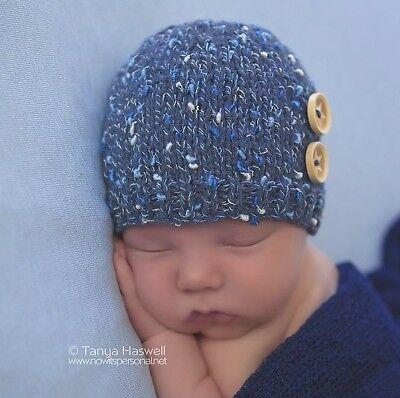 Hand Knitted Crochet Baby Hat Boy Grey Button Beanie Photo Prop Newborn-12m