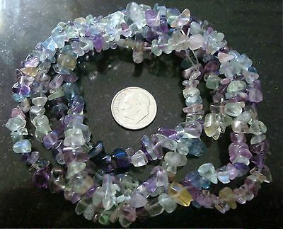 Natural tri-colored fluorite chip beads create necklaces bracelets jewelry bs345
