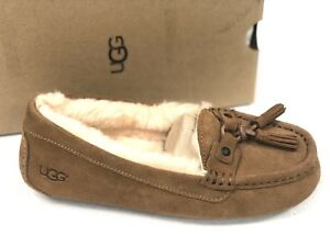 8dc064679ac Details about UGG Australia Women's LITNEY Chestnut SUEDE TASSEL MOCCASIN  SLIPPERS 1014882