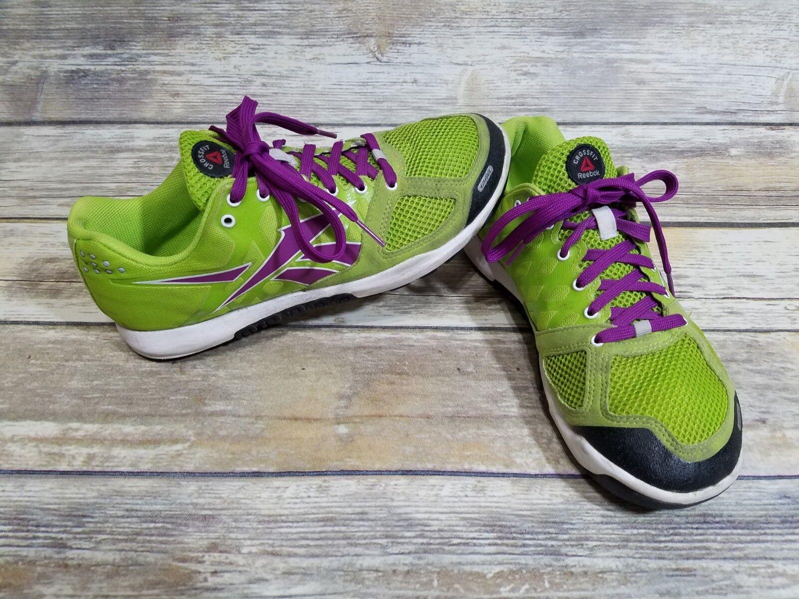 Reebok Crossfit Women's Nano  Lime Green Purple DuraGrip shoes size 8.5