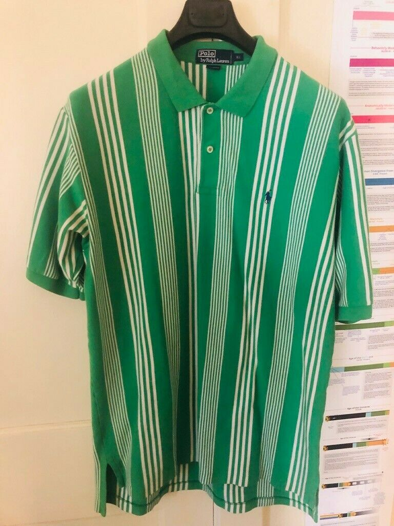 VTG Polo Ralph Lauren mens polo white with green and red striped