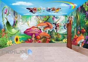 3D Tinkerbell Peter Pan Fairy Rainbow Ceiling Wall Murals Wallpaper