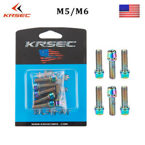 6pcs M5*18mm Ti Coated Plated MTB Bicycle Steering Handlebar Stem Screws Bolts