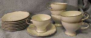 Meito-Argence-6-Cups-amp-8-Saucers-Platinum-Lot-of-14