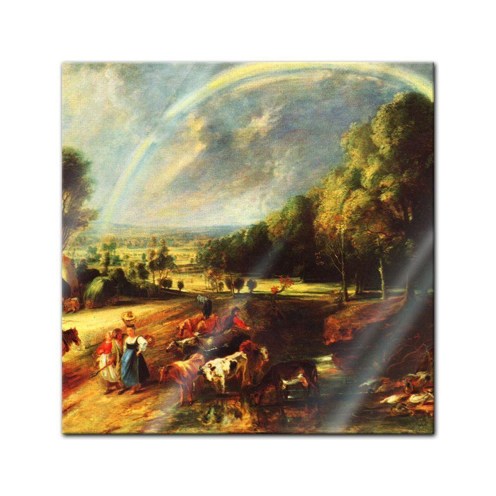 Immagine di vetro l'arcobaleno Peter Paul Rubens-MAESTRI-Paesaggio con l'arcobaleno vetro e4c941