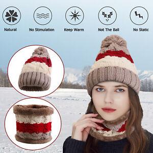 Women-Winter-Beanie-Hat-Knit-Scarf-Set-Fleece-Balaclava-Warm-Ski-Snow-Skull-Cap