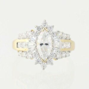 NEW-Cubic-Zirconia-Halo-Ring-10k-Yellow-Gold-CZs-Women-039-s-Size-7