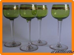 Franc 4 Anciens Verres A Vin Du Rhn En Cristal Vert De St Louis Modele Roty Gold