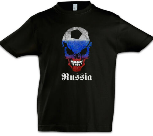 Russia Russian Football Skull Flag Enfants Jeunes T-shirt Russian Fan hooligans