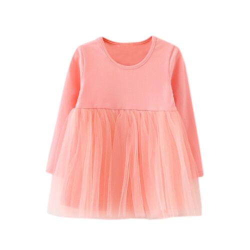 Baby Girls Dress Casual Long Sleeve Solid Tutu O-Neck Princess Kid Dress H4