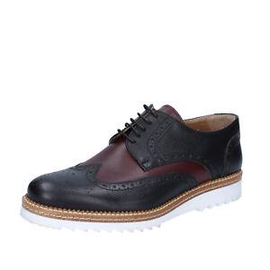 mens-shoes-FDF-SHOES-10-EU-44-elegant-black-burgundy-leather-BZ369-F