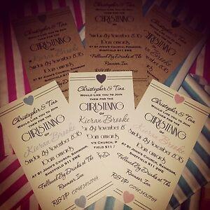 12 personalised christening invitations vintage retro birthday