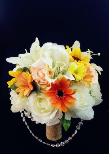 2pc:Beautiful Fall wedding bouquet/&Boutonniere-Burlap pearl Orange Ivory Yellow
