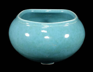 RARE-VINTAGE-WALRICH-ART-POTTERY-VASE-BERKELEY-CALIFORNIA-MOTTLED-BLUE-GREEN