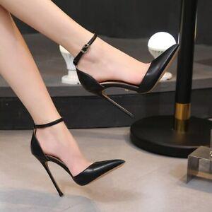 UK Women Metal High Heels Ankle Strap